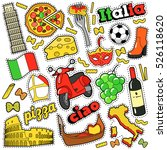 italy travel scrapbook stickers ... | Shutterstock .eps vector #526118620