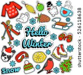 hello winter stickers  badges ... | Shutterstock .eps vector #526118638