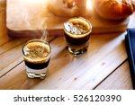 espresso coffee on wood. | Shutterstock . vector #526120390