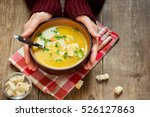 woman hands holding bowl of... | Shutterstock . vector #526127863
