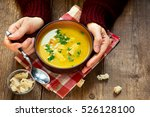 woman hands holding bowl of...   Shutterstock . vector #526128100