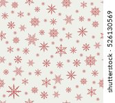 pattern of red snowflakes on a... | Shutterstock .eps vector #526130569