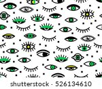 seamless pattern with eyes.... | Shutterstock .eps vector #526134610