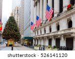 famous wall street in new york... | Shutterstock . vector #526141120