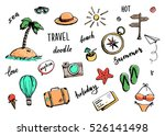 set of hand drawn travel doodle.... | Shutterstock .eps vector #526141498