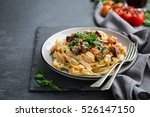 pasta linguine with eggplant... | Shutterstock . vector #526147150