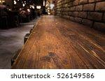 empty wood table top of bar... | Shutterstock . vector #526149586