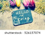 spring flowers on a wooden... | Shutterstock . vector #526157074