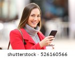 girl with a mobile phone... | Shutterstock . vector #526160566