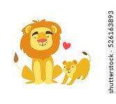 lion dad animal parent and its... | Shutterstock .eps vector #526163893