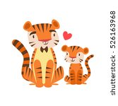 tiger dad in bow tie animal... | Shutterstock .eps vector #526163968