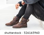 men fashion in leather boots ... | Shutterstock . vector #526165960