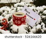 a mug with coffee and hello... | Shutterstock . vector #526166620