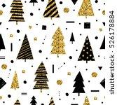 christmas holidays. cute golden ... | Shutterstock .eps vector #526178884