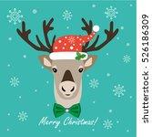 christmas northern deer. flat...   Shutterstock .eps vector #526186309