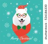 christmas dog. flat style... | Shutterstock .eps vector #526186330