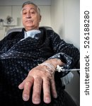old patient man with iv drip in ... | Shutterstock . vector #526188280