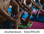 people practicing yoga and... | Shutterstock . vector #526190134