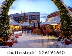 christmas market place at the... | Shutterstock . vector #526191640