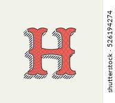 h letter logo. retro western... | Shutterstock .eps vector #526194274