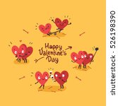 Two happy hearts in love. Cute couple in love doing activities together: drinking, swinging, making selfie. Happy Valentine's day vector card | Shutterstock vector #526198390