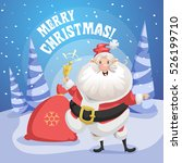 happy smiling santa claus in... | Shutterstock .eps vector #526199710