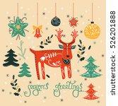 vector christmas card with deer ... | Shutterstock .eps vector #526201888