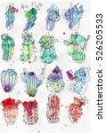 cute watercolor cacti set. | Shutterstock . vector #526205533