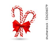 christmas candy cane with red... | Shutterstock .eps vector #526206079