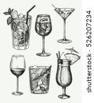 Vector hand drawn set of cocktails and alcohol drinks. Sketch. | Shutterstock vector #526207234