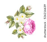 Stock photo flowers and leaves watercolor illustration bouquet of roses flowers vintage watercolor botanical 526216639