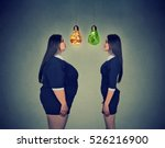 young fat woman looking at... | Shutterstock . vector #526216900