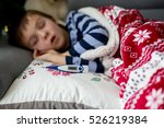 sick little child  boy  with... | Shutterstock . vector #526219384