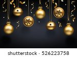 golden christmas balls and... | Shutterstock . vector #526223758