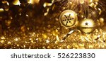 golden christmas balls on... | Shutterstock . vector #526223830
