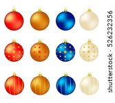set of color xmas balls.... | Shutterstock .eps vector #526232356