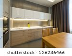 Stock photo modern kitchen interior in new luxury home apartment 526236466