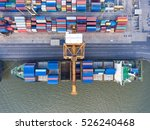container ship in export and... | Shutterstock . vector #526240468