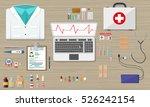 wooden doctors desk with laptop ... | Shutterstock . vector #526242154