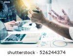 double exposure of businessman... | Shutterstock . vector #526244374