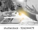 double exposure of business... | Shutterstock . vector #526244479