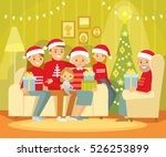 big family celebrating christmas | Shutterstock .eps vector #526253899