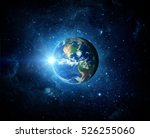 earth  galaxy and sun. elements ... | Shutterstock . vector #526255060