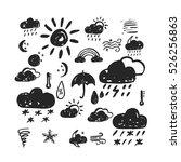 vector weather icons set. hand... | Shutterstock .eps vector #526256863