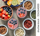 healthy breakfast  coconut milk ... | Shutterstock . vector #526264000