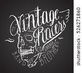 vintage racers print. skull in... | Shutterstock .eps vector #526271860