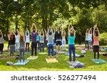 men and women make exercises... | Shutterstock . vector #526277494