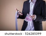 Small photo of Man after party with banknotes. Gigolo with payment.