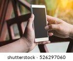 man's hands holding smartphone  ...   Shutterstock . vector #526297060