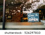 open sign board close up... | Shutterstock . vector #526297810